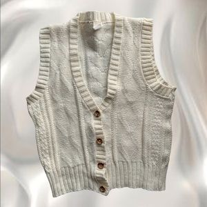Cream cable knit sweater vest